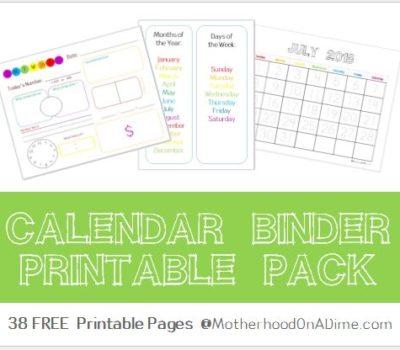 FREE Printable Calendar Binder for Kids for 2018 – 2019