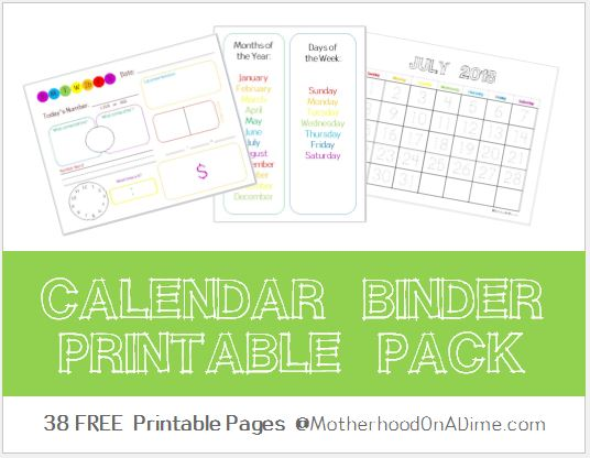 calendar binder free printables kids activities saving money