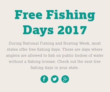 Free fishing days for 2017 kids activities saving for Free fishing license