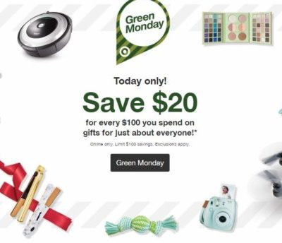Hot! $20 Off Every $100 Purchase at Target on Green Monday