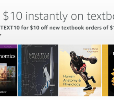 Amazon: $10 Off a $100+ Textbook Purchase